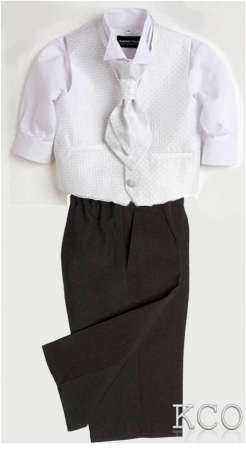 Sicily Classic White Shirt/Black Trousers~ Boys Suits